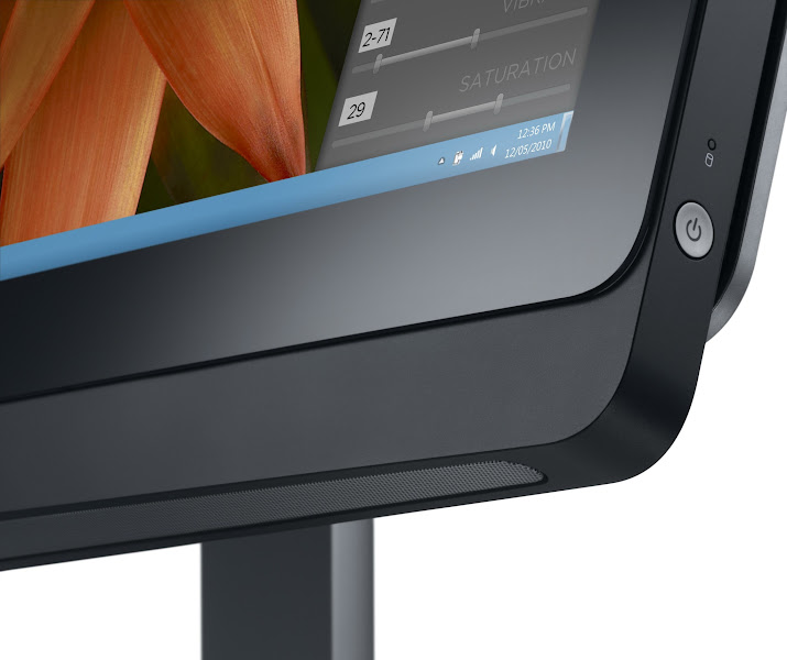 Photo: Dell XPS One 27 all-in-one Ivy Bridge desktop - Power Button and speaker close-up.
