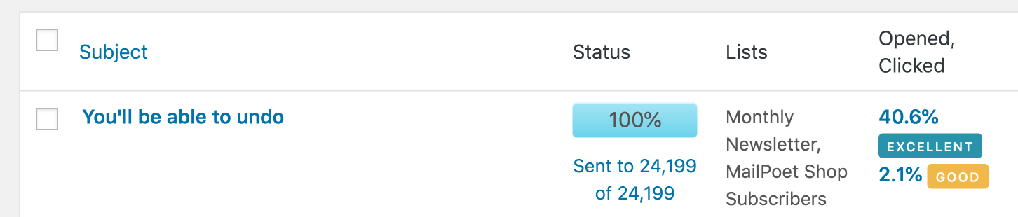 Tracking stats in MailPoet.