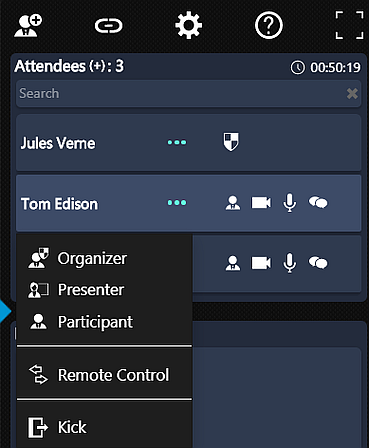 Participant Action Menu Options in 3CX WebMeeting