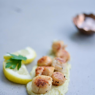 Seared Scallops with Leek and Cauliflower Puree