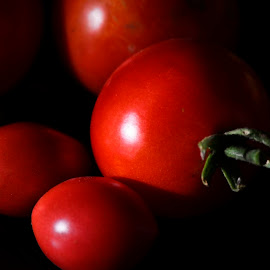 Tomatoes From My Garden by Alison MacDonald - Food & Drink Fruits & Vegetables ( red, tomatoes, black background, tomato, vegetable,  )