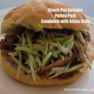 Crock-Pot Sesame Pulled Pork Sandwich with Asian Slaw