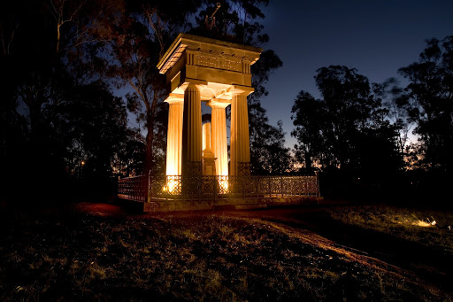 Boer War Memorial at night