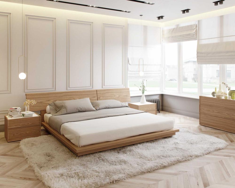 Phòng ngủ gỗ tự nhiên với màu kem chủ đạo