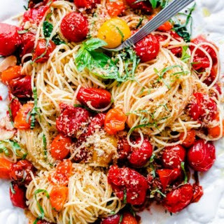 Spaghettini with Roasted Tomatoes, Fresh Basil, and Toasted Garlic Breadcrumbs