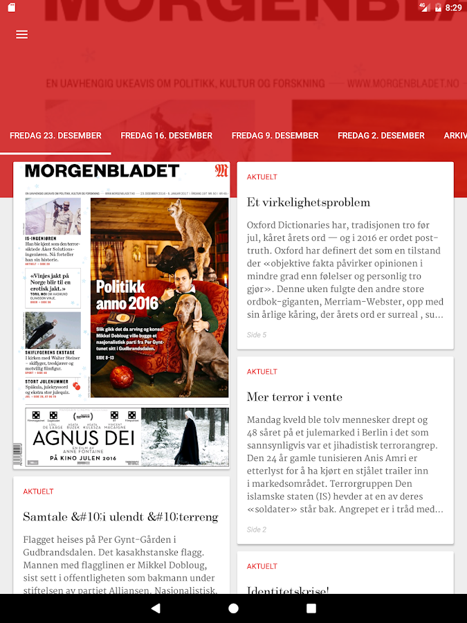Morgenbladets eAvis- screenshot