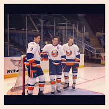 Photo: Travis Hamonic, Mark Streit and Andrew MacDonald.