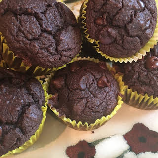 Gluten-Free Double Chocolate Chip Muffins.