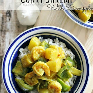 Curry Shrimp with Pineapple.