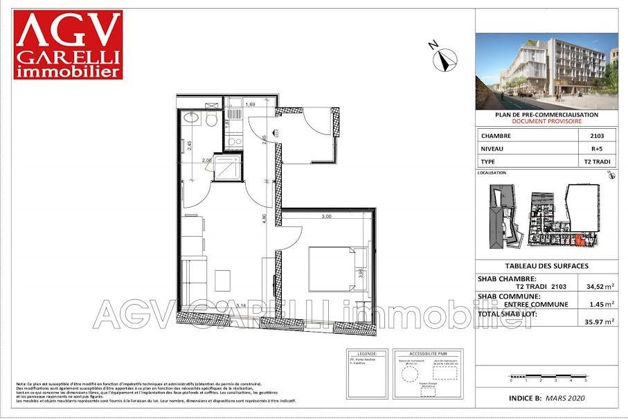 Vente appartement 2 pièces 35.97 m² à Toulon (83000), 239 880 €