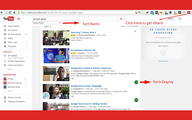 VRank YouTube Video Curation