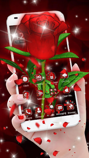 3D Love Red Rose Glitter Theme 1.1.1 screenshots 1