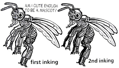 """Photo: I got a call from someone who wanted a bee mascot for a bill they were fighting in the state legislature. This was my """"study"""" drawings, breaking down a photograph of a real bee, to see how I might make a simple character from it."""