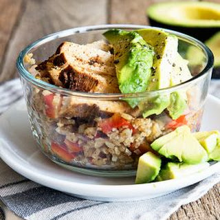 Cauliflower Rice Bowl with Chili Lime Chicken and Avocado.