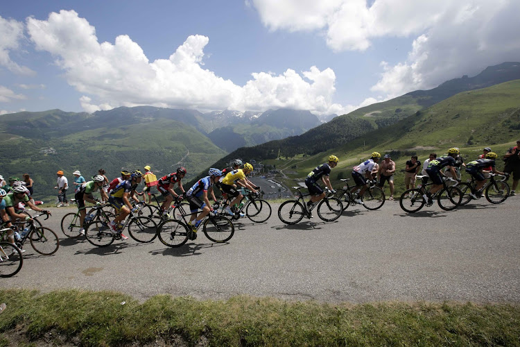 ON THE RISE: The peloton climbs the Val Louron-Azet pass during the 168.5km ninth stage of the Tour de France on Sunday. Picture: REUTERS