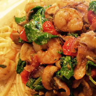 Creole spiced Shrimp with Baby Spinach & Kale.