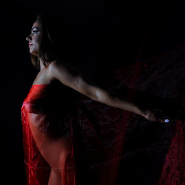 Flight of Flame by DJ Cockburn - Nudes & Boudoir Artistic Nude ( red, off camera flash, woman, white, art nude, home shoot, caucasian, topless, sheer, model, low key )