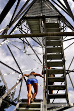 Photo: Climbing the fire tower at Allis State Park