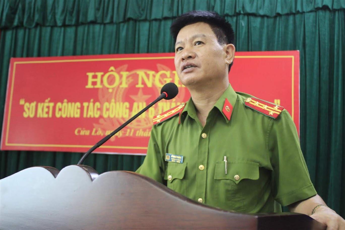 Đại tá Hồ Minh Thắng, Trưởng Công an Thị xã Cửa Lò phát biểu chỉ đạo tại Hội nghị