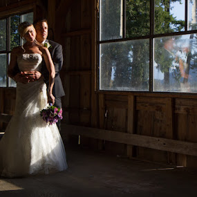Old Barn by Anthony Schwab - Wedding Bride & Groom ( wedding photography, rowena's inn on the river, canada, fall, lower mainland, harrison river, tara and dustin, sandpiper golf resort, wedding photographer, wedding photograph, photography, september )