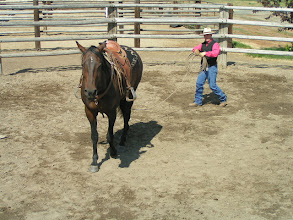 Photo: The lariat in on her right hip.