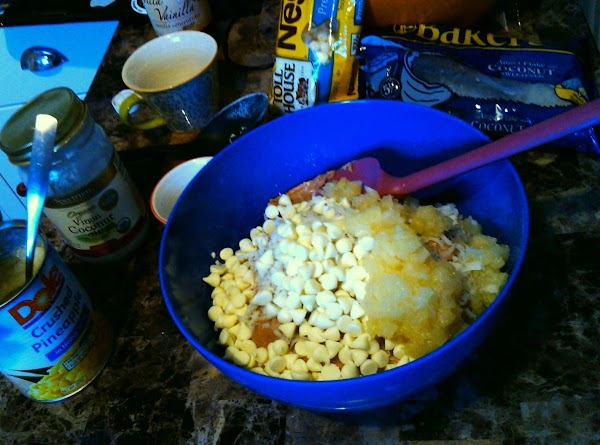 Fold wet bowl into flour bowl.  Add the chocolate chips, toasted coconut, and...