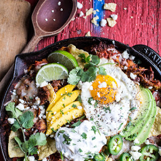 Carnitas Chilaquiles with Whipped Jalapeño Cream..