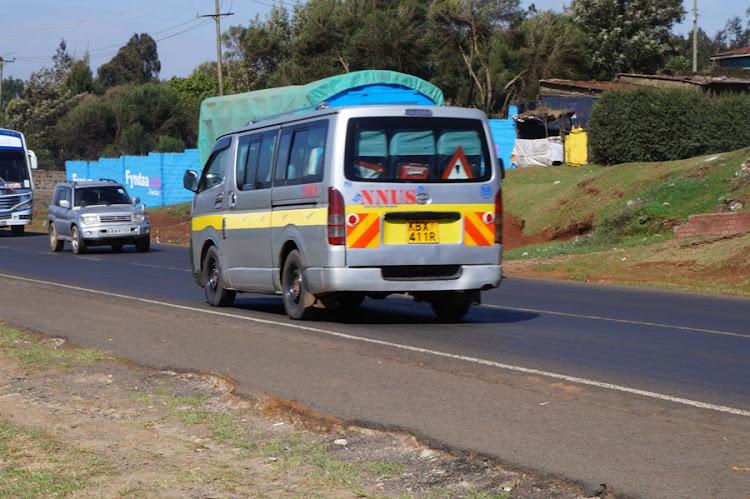 A Naivasha Nairobi bound matatu along the Nairobi Nakuru highway