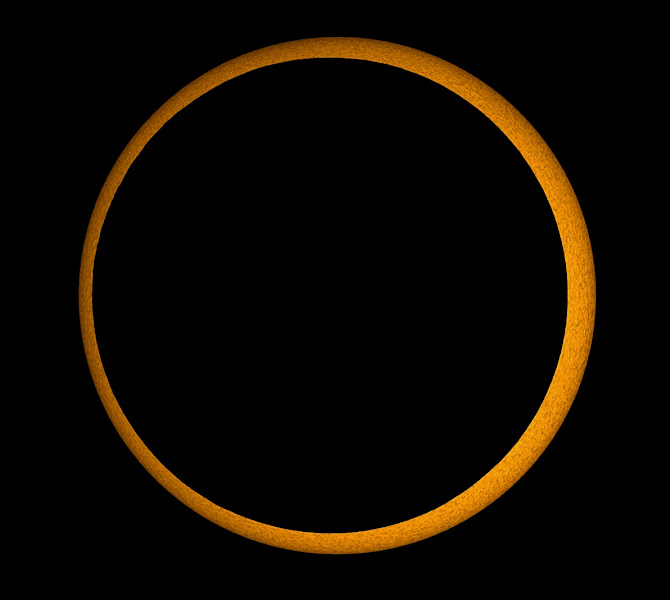 Photo: Annular Solar Eclipse Image Credit & Copyright: Mikael Svalgaard http://apod.nasa.gov/apod/ap120519.html  Tomorrow, May 20, the Moon's shadow will race across planet Earth. Observers within the 240-300 kilometer wide shadow track will be able to witness an annular solar eclipse as the Moon's apparent size is presently too small to completely cover the Sun. Heading east over a period of 3.5 hours, the shadow path will begin in southern China, cross the northern Pacific, and reach well into North America, crossing the US west coast in southern Oregon and northern California. Along the route, Tokyo residents will be just 10 kilometers north of the path's center line. Of course a partial eclipse will be visible from a much larger area within North America, the Pacific, and eastern Asia. This safely filtered telescopic picture was taken during the annular eclipse of January 15, 2010 from the city of Kanyakumari at the southern tip of India.