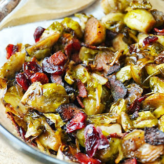 Maple Balsamic Roasted Brussel Sprouts with Bacon and Cranberries Recipe