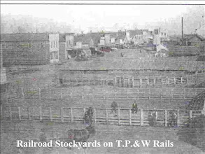 """Photo: From """"Sands of Time"""". The stockyards, built @ 1867, became such a nuisance and were removed in 1886, after many years of hasseling with the railroad. They were on the south side of the west block of Locust Street."""