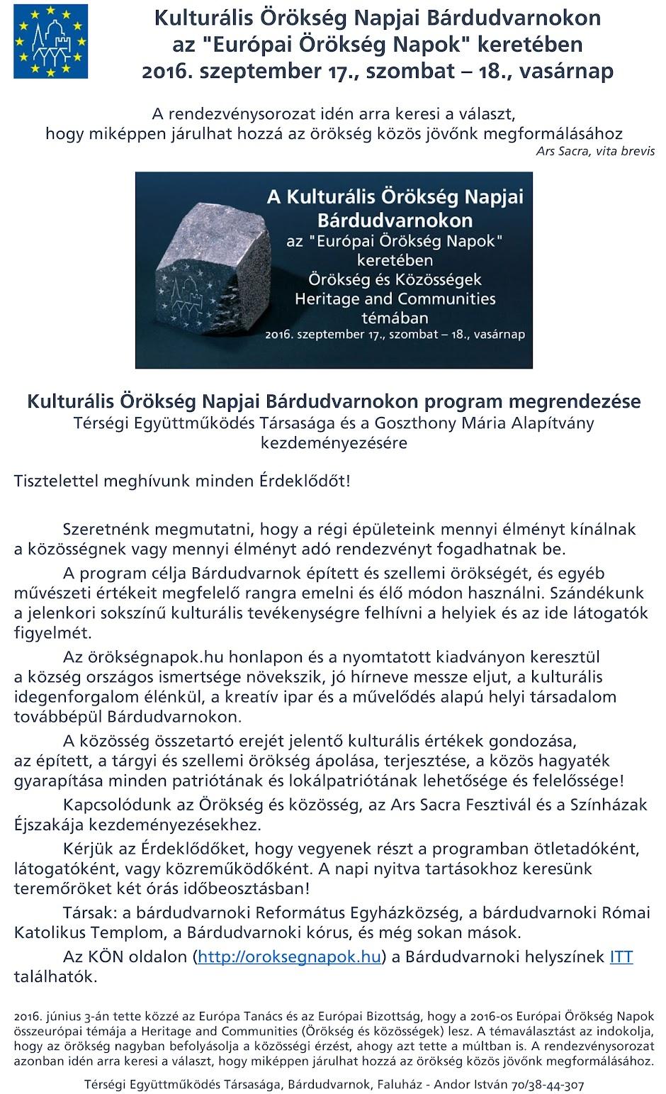 Kulturalis Örökség Napjai Bárdudvarnokon 2016