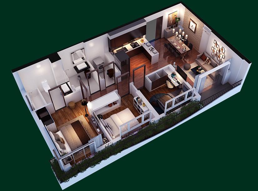 Phối cảnh căn hộ tại dự án thu hút được rất nhiều người quan tâm