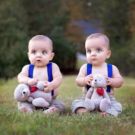 Twin Hearts by Jeannie Meyer - Babies & Children Child Portraits ( canon, teddy bears, red heart, suspenders, twins )