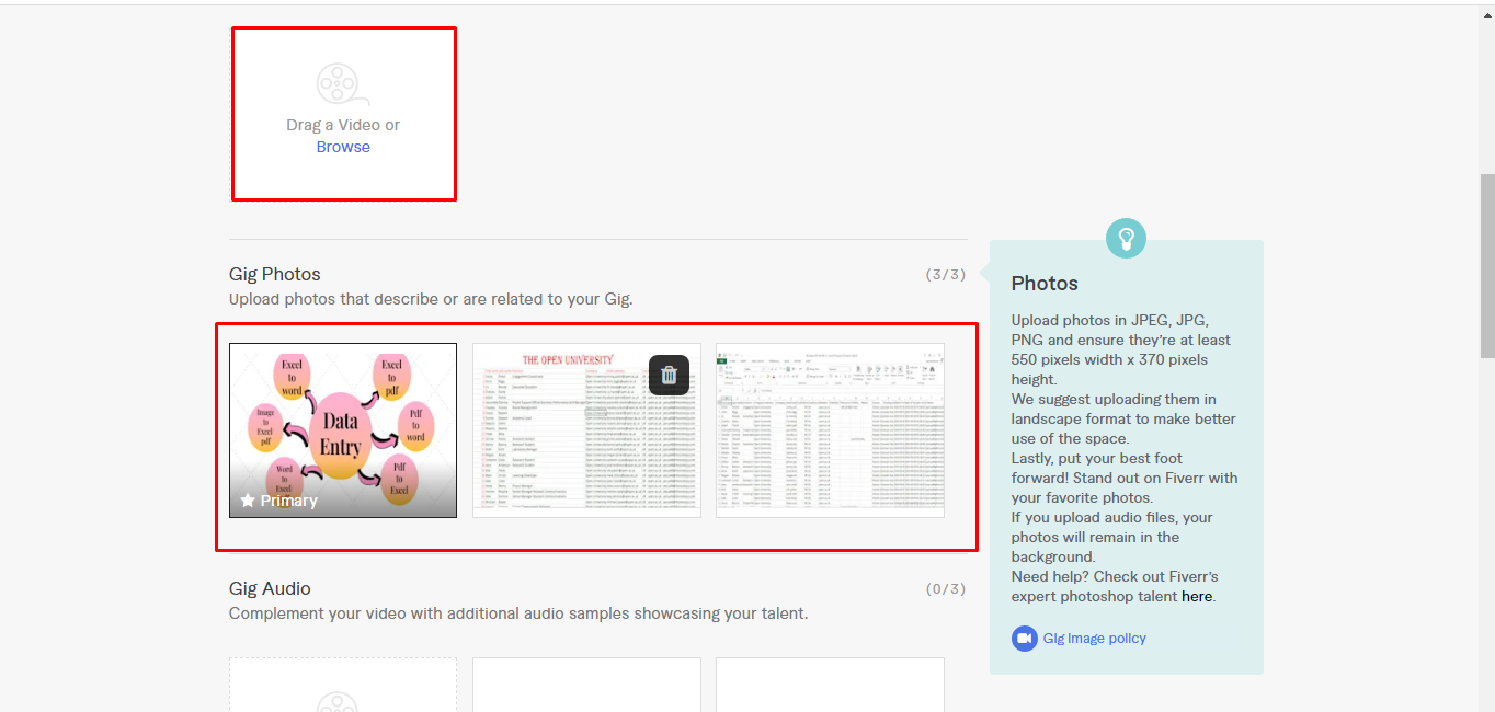 Screenshot of freelance writer creating a graphic to market the services offered in a Fiverr gig