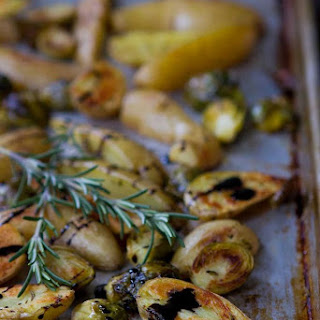 Balsamic Roasted Fingerling Potatoes & Brussels Sprouts.