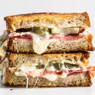 Salami and Pickle Grilled Cheese.
