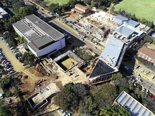 Aerial view: The Javett Art Centre at the University of Pretoria reaches across Lynnwood Road. Picture: HEIN DEDEKIND