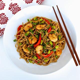 Hoisin Shrimp and Edamame Stir-Fry with Soba Noodles