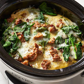 Slow Cooker Sausage and Spinach Breakfast Casserole.