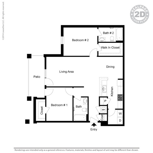 Two Bedroom Phase 3 Floorplan 2 Bed 2 Bath Foothills