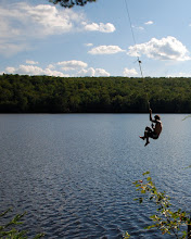 Photo: Having fun on the rope swing at Ricker Pond State Park by Linda Carlsen-Sperry.