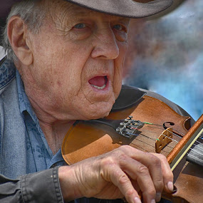Blue Eyes &  Bluegrass by Alycia Marshall-Steen - People Musicians & Entertainers ( music, pickin, dalonega georgia, musician man, bluegrass, fiddle )