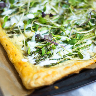 Spring Tart with Crazy Feta, Asparagus, Microgreens, and Yogurt Dill Drizzle
