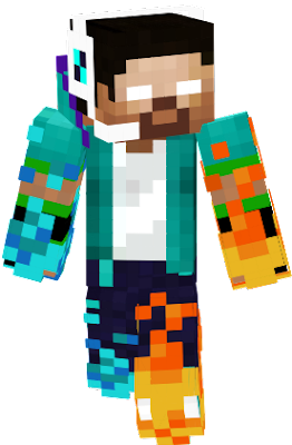 this herobrine skin is one from cool herobrine skin but this have youtube photo on his left and with fire and ice