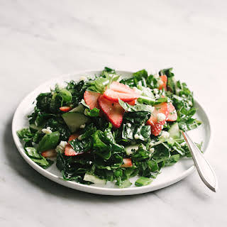 Strawberry Kale Salad with Mint.