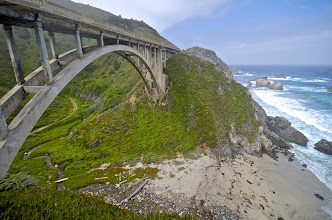 Photo: 161. Here's the first major bridge as you head south. This is Rocky Creek (which you can see below, off to the left) Bridge, built in 1932. This and other similar bridges along the coast for the first time made such dramatic views accessible to many.