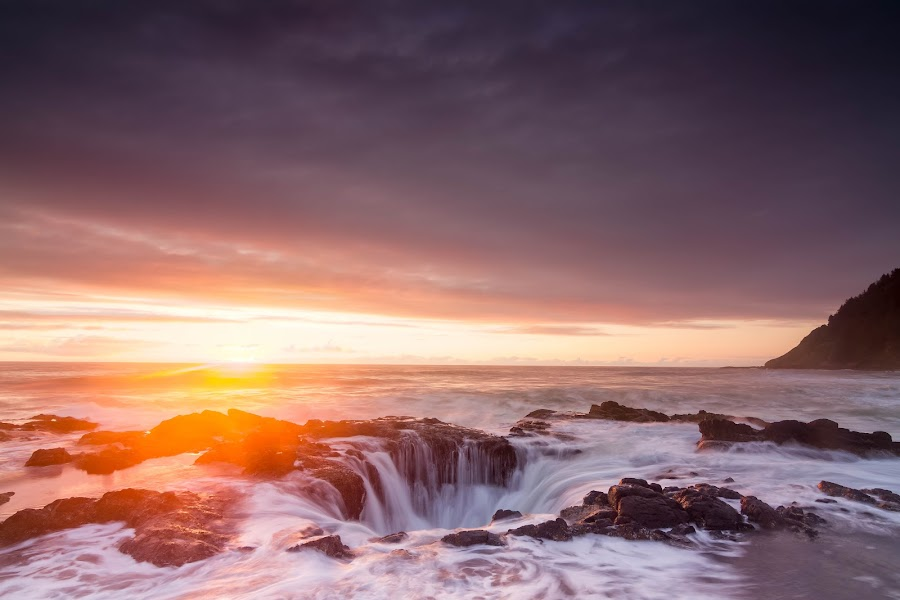 Thor by Christian Flores-Muñoz - Landscapes Waterscapes ( natural wonder, sunset, cape perpetua, oregon coast, thors well )