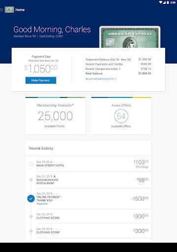 Amex Mobile Screenshot