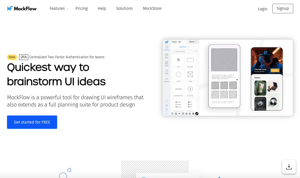 Mockflow wireframe tool homepage featuring an example wirefram and a CTA to start using mocklow for free